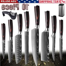 10PCS Kitchen Knives with Accessories Set Stainless Steel Da