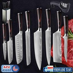10 Piece Pro Chef Kitchen Cooking Knives Set Variety Knife C