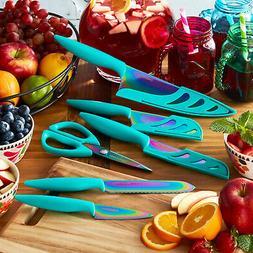 11-Piece Teal Rainbow Titanium Cutlery Knives Set Farberware