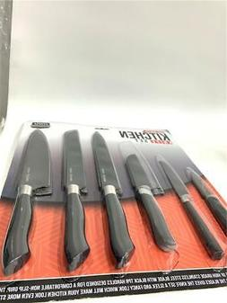 Utopia Kitchen 12-Piece Black Knife Set with Black Blades