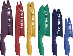 12 Piece Color Knife Set with Blade Guards 6 Knives And 6 kn