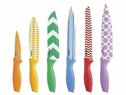 12-Piece Printed Color Knife Set with Blade Guards, Multicol