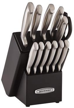 13 Pc Home Kitchen Self Sharpening Knife Block Set Black Cut