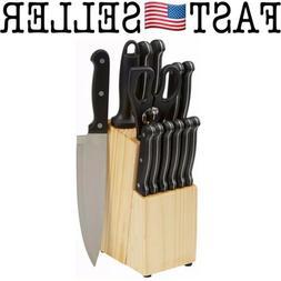 AmazonBasics 14-Piece Kitchen Knife Set with High-Carbon Sta