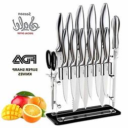 14-Piece Knife Block Set Stainless Steel Chef Knives Clear A