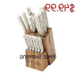 14 Piece Stainless Steel Cowboy Rustic Cutlery Set In Linen