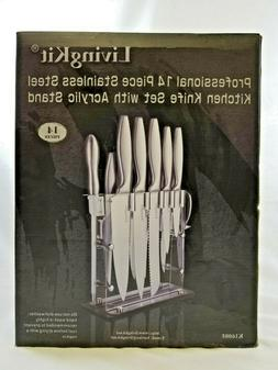LivingKit 14pc Professional Stainless Steel Kitchen Knife Se