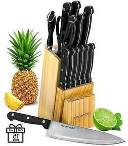 15 Pc Knife Set Chef Kitchen Sharpening Stainless Steel Stea