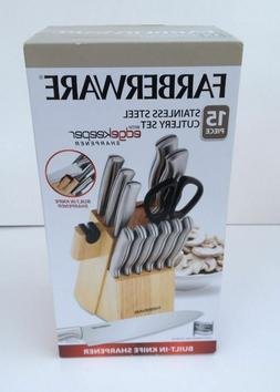 Farberware 15-Pc. Stample Stainless Steel Knife Set Built-in