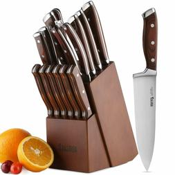 15-Piece Kitchen Knife Set with Block Wooden,Chef Knife Set