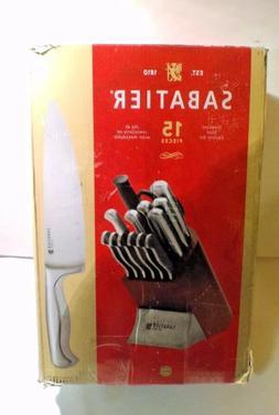 Sabatier 15-Piece Stainless Steel Hollow Handle Knife Block