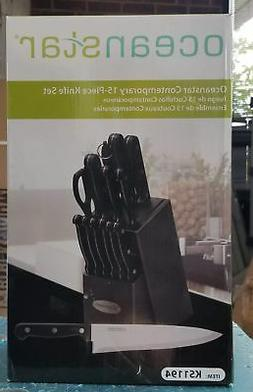 15pc contemporary stainless steel knife set in
