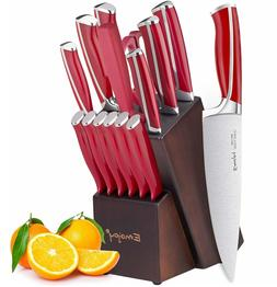 15Pcs German Stainless Steel Kitchen Knife Block Set With AB