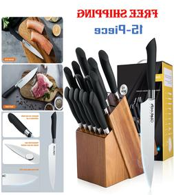 15Pcs Knife Block Set Kitchen Sharpening Stainless Steel Che