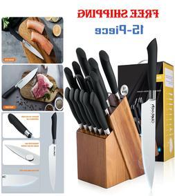 15Pcs Knife Block Set Kitchen Sharpening Stainless Steel Che