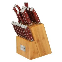 18 Piece Cutlery Set with Bamboo Block knife set G10 Handles