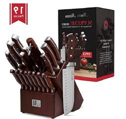 19-Piece Premium Kitchen Knife Set With Wooden Block German