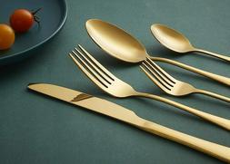 20-piece Gold Cutlery Set Heavy-duty Stainless Steel Utensil
