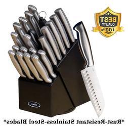 22-Piece Knife Set With Sharpening Steel, Rubberwood Block-