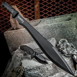 2pc HUNTING TACTICAL Fixed Blade Pocket KNIFE MACHETE Black