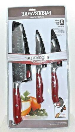 Farberware 3-Piece Forged Knife Set with Built-In Sharpeners