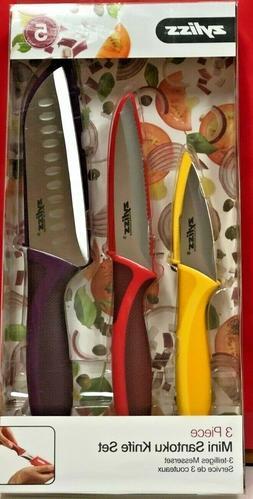 ZYLISS 3-Piece Mini Santoku Knife Set with Sheath Covers, St