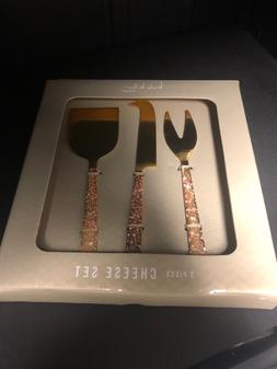 Nicole Miller 3 Piece Stainless Steel Cheese Knife Set NIB g