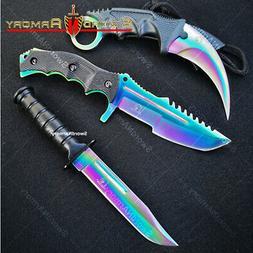 3 Piece Tactical Knife Set Hunting Karambit Combat Knives w/