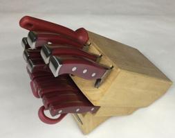 Farberware, 3 Rivet, Red-handled, Knife Set. 14 Piece w/Bloc