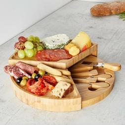 VonShef 3 Tier Fold Out Bamboo Wood Serving Cheese Board & 3