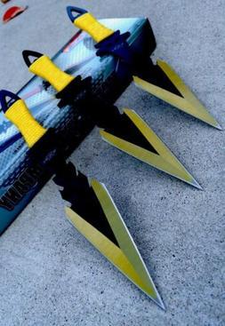 """3Pc 7.5"""" Ninja Tactical Combat Kunai Throwing Knife Set w/Sh"""