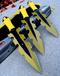 """3Pc 7.5"""" Ninja Throwing Knife Tactical Combat GOLD KUNAI  Se"""