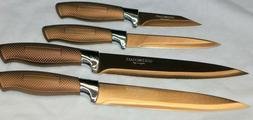 Gold Coast 4 Piece Bronze Blade Knife Set Chef's/Utility/Par