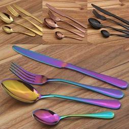 4Pcs Stainless Steel Cutlery Dinnerware Knife Fork Spoon Tea