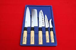 5 chef Full-Knife Set Sashimi DEBA Steel Sushi Kitchen cook