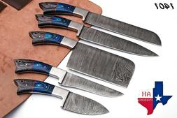 5 HAND FORGED DAMASCUS STEEL CHEF KITCHEN KNIFE SET WITH WOO