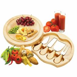 5 PCS Stainless Steel Cheese Knife Set with Round Wood Slide