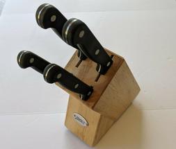 5 Piece Ginsu Knife Set Wood Storage Block Clean & Complete