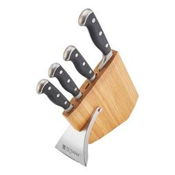 Sabatier 5-piece Slim Bamboo Block Cutlery Set Triple Rivete