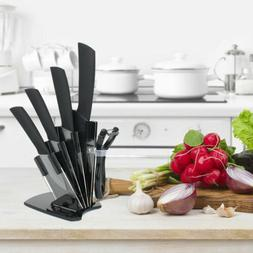 Ceramic Knife Chef Cutlery Block Holder Cooking 6-Piece Blac