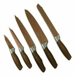 Gold Coast 5pc Copper Colored Kitchen Knife Set, NEW, FREE S