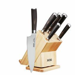 Deik 6 PC Kitchen Knife Set Rotatable Block High Carbon Stai