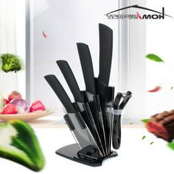 "6PC Ceramic Kitichen Knife Cutlery Block Set Chef Cooking 3"""