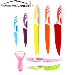 8pcs Colorful Kitchen Knife Set Stainless Steel Cutlery Non-