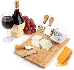 Cheese Board Set - Set Includes 3 Piece Cheese Knife Set & 4