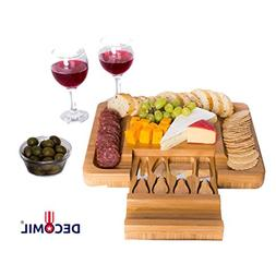 DECOMIL - Bamboo Cheese Board with Knife Set – Rectangle W