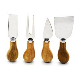 Freehawk 4 Pieces Set Cheese Knives with Bamboo Wood Handle