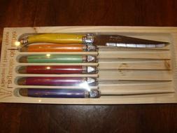 Jean Dubost Laguiole Steak Knives, 6-Piece, Assorted colors