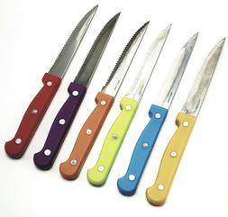 KLOK Cutlery 7 Pc Stainless Steel Steak Knife Set Colored Ha