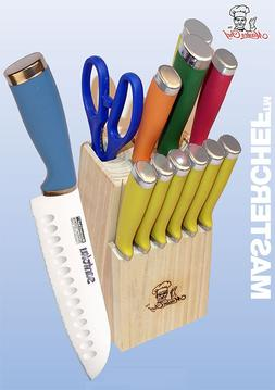 Masterchef 13pc Colorful Handle Santoku Knife Cutlery Set w/